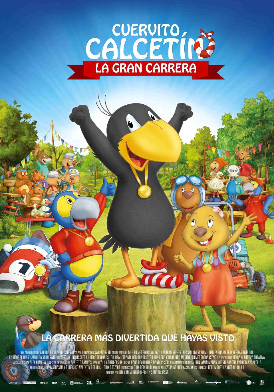 Cartel España de 'Cuervito calcetín: la gran carrera'