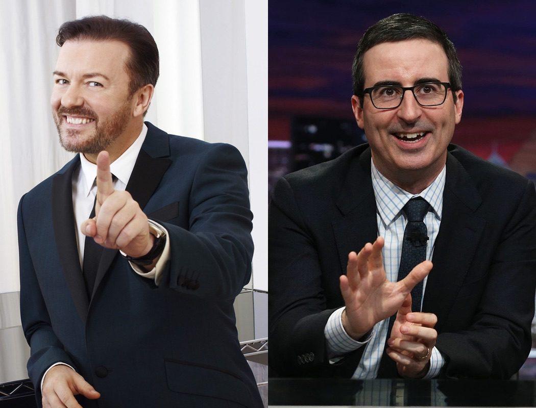 Ricky Gervais y John Oliver, la comedia ácida