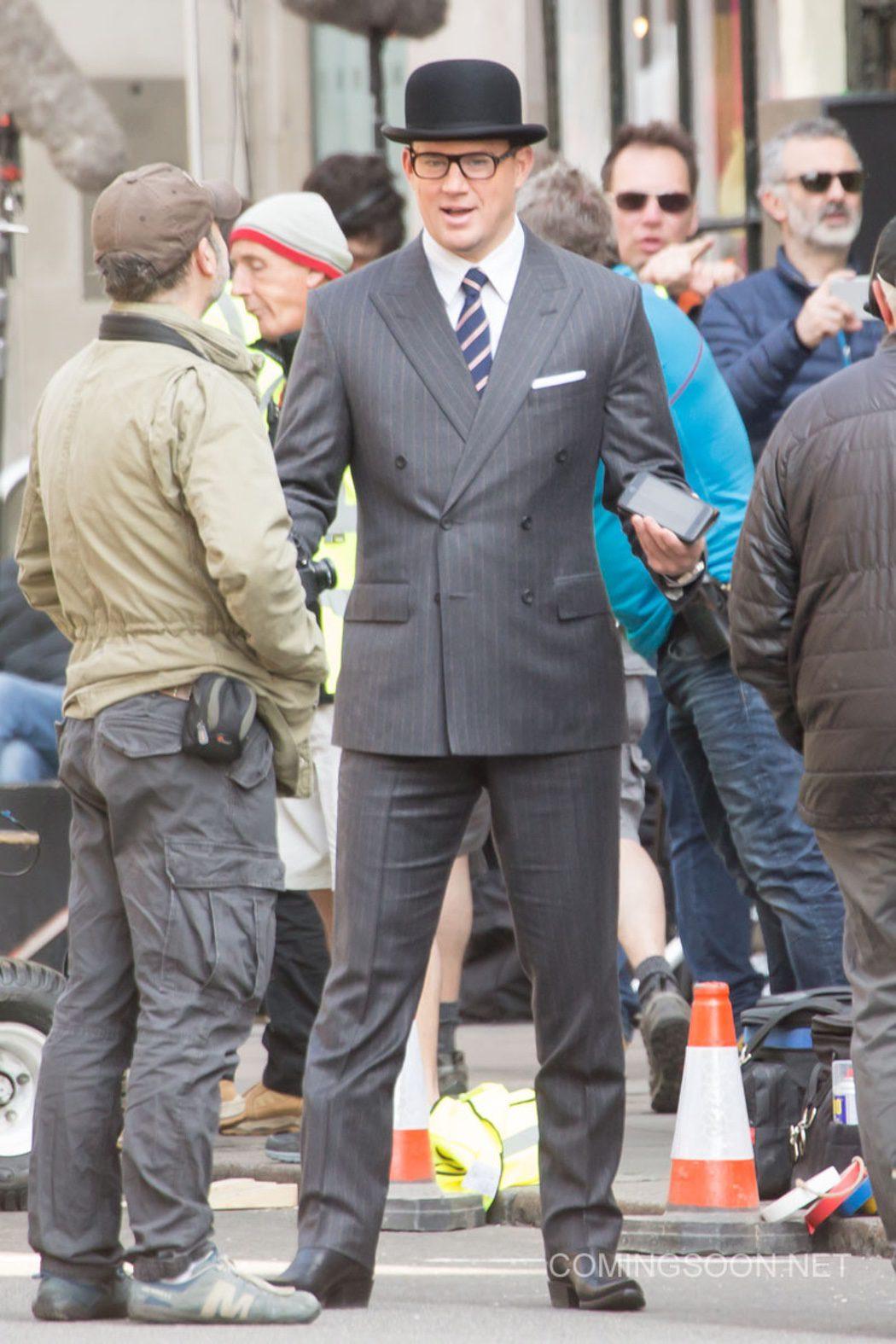 Channing Tatum durante el rodaje de 'Kingsman: The Golden Circle'