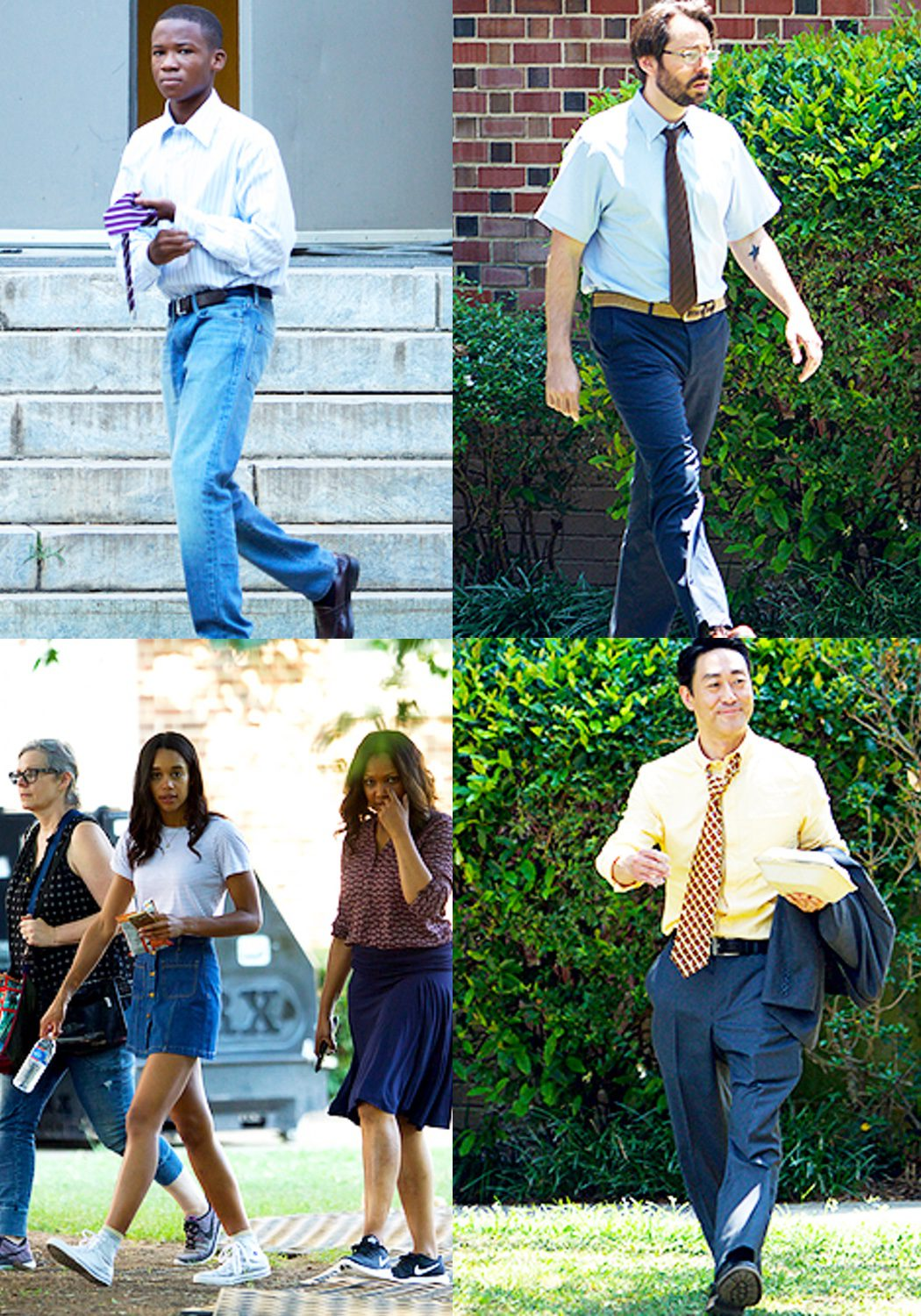 Laurra Harrier, Kenneth Choi, Martin Starr, Abraham Attahen y Garcelle Beauvais el set de rodaje de Atlanta