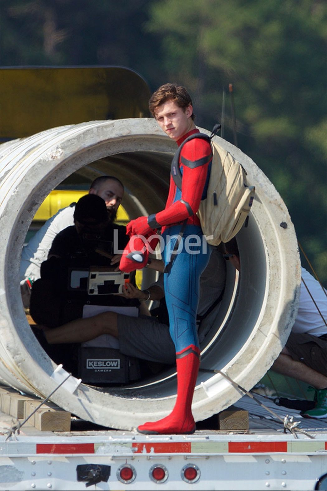 Tom Holland en una escena de acción de 'Spider-Man: Homecoming'